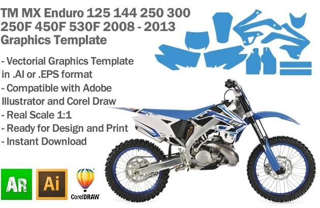 TM All Models Enduro MX Motocross 2008 2009 2010 2011 2012 2013 2014 Graphics Template