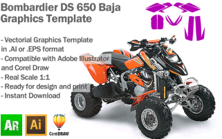 Bombardier DS 650 Baja ATV Quad Graphics Template