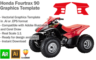 Honda Fourtrax 90 ATV Quad Graphics Template