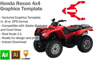 Honda Recon 4x4 ATV Quad Graphics Template