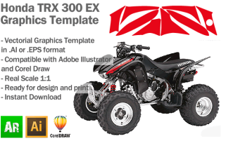 Honda TRX 300 EX ATV Quad Graphics Template