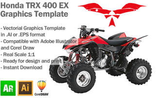 Honda TRX 400 EX ATV Quad 2008 2009 2010 2011 2012 Graphics Template
