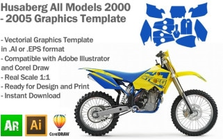 Husaberg Enduro MX Motocross All Models 2000 2001 2002 2003 2004 2005 Graphics Template