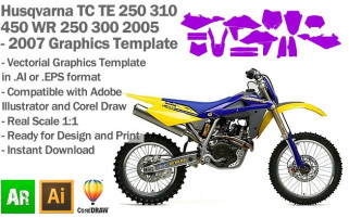 Husqvarna TC TE 250 310 450 WR 250 300 Enduro MX Motocross 2005 2006 2007 Graphics Template
