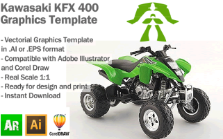 Kawasaki KFX 400 ATV Quad Graphics Template