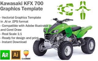 Kawasaki KFX 700 ATV Quad Graphics Template