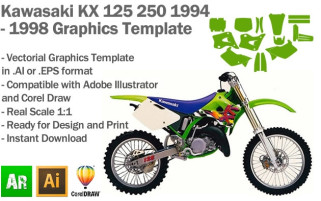 Kawasaki KX 125 250 MX Motocross 1994 1995 1996 1997 1998 Graphics Template