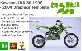 Kawasaki KX 80 MX Motocross 1998 1999 2000 2001 2002 2003 2004 Graphics Template