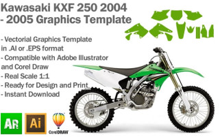 Kawasaki KXF 250 MX Motocross 2004 2005 Graphics Template