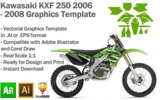 Kawasaki KXF 250 MX Motocross 2006 2007 2008 Graphics Template