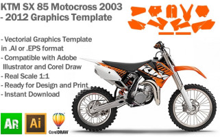 KTM SX 85 MX Motocross 2003 2004 2005 2006 2007 2008 2009 2010 2011 2012 Graphics Template