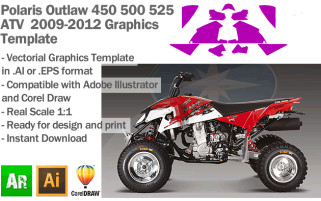 Polaris Outlaw 450 500 525 ATV Quad 2009 2010 2011 2012 Graphics Template