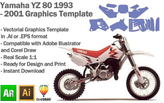 Yamaha YZ 80 MX Motocross 1993 1994 1995 1996 1997 1998 2000 2001 Graphics Template