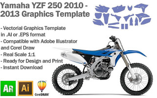 Yamaha YZF 250 MX Motocross 2010 2011 2012 2013 Graphics Template