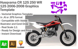 Husqvarna CR 125 250 WR 125 Enduro MX Motocross 2006 2007 2008 Graphics Template
