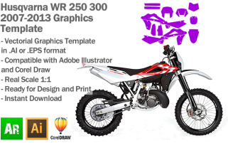 Husqvarna WR 250 300 Enduro 2007 2008 2009 2010 2011 2012 2013 Graphics Template
