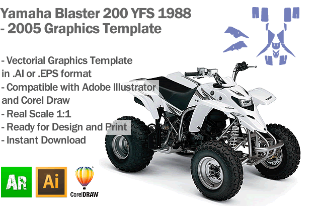 Yamaha Blaster 200 YFS ATV Quad Graphics Template