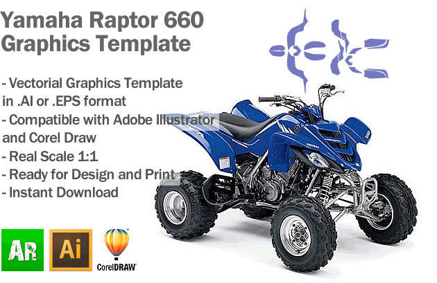 Yamaha Raptor 660 ATV Quad Graphics Template