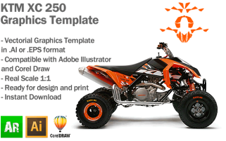 KTM XC 250 ATV Quad Graphics Template