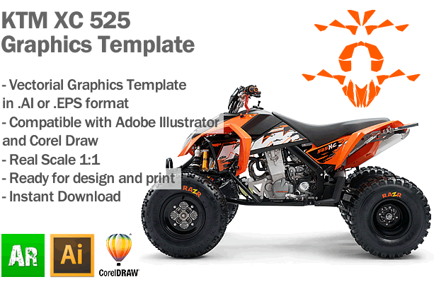 KTM XC 525 ATV Quad Graphics Template