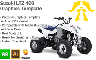 Suzuki LTZ 400 ATV Quad Graphics Template