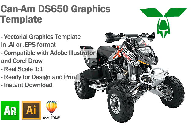 Can-Am DS650 ATV Quad Graphics Template
