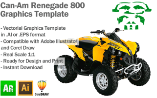 Can-Am Renegade 800 ATV Quad Graphics Template