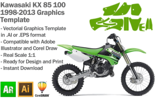 Kawasaki KX 85 100 MX Motocross 1998 1999 2000 2001 2002 2003 2004 2005 2006 2007 2008 2009 2010 2011 2012 2013 Graphics Template