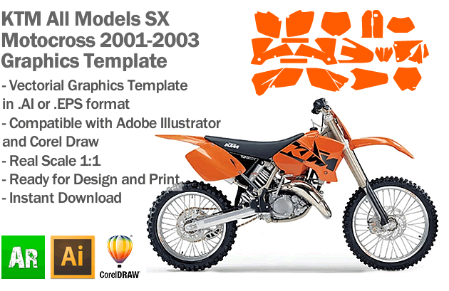 KTM SX MX Motocross All Models 2001 2002 2003 Graphics Template