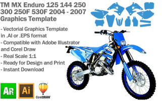 TM All Models Enduro MX Motocross 2004 2005 2006 2007 Graphics Template