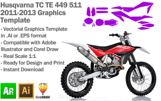 Husqvarna TE TC 449 511 Enduro MX Motocross 2011 2012 2013 Graphics Template
