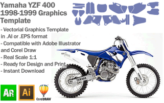 Yamaha YZF 400 MX Motocross 1998 1999 Graphics Template
