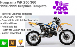 Husqvarna WR 250 360 1996 1997 1998 1999 Graphics Template