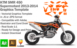 KTM SMR 450 Supermotard 2013 2014 Graphics Template