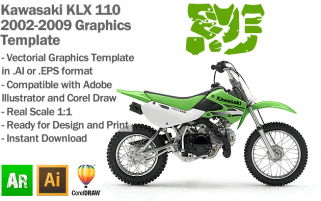 Kawasaki KLX 110 MX Motocross 2002 2003 2005 2006 2007 2008 2009 Graphics Template