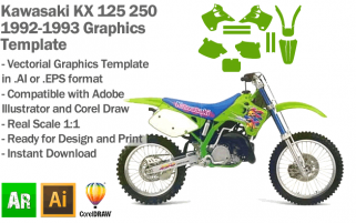 Kawasaki KX 125 250 MX Motocross 1992 1993 Graphics Template