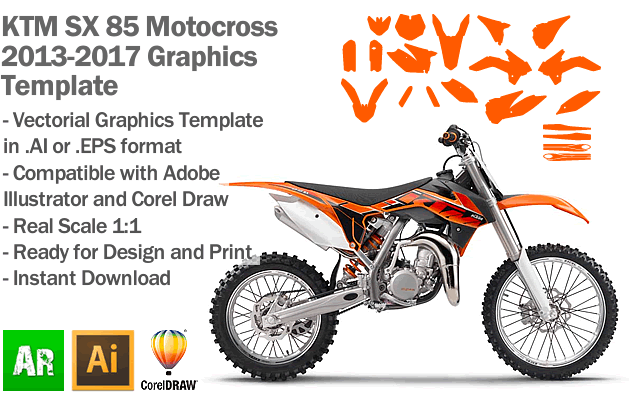 KTM SX 85 MX Motocross 2013 2014 2015 2016 2017 Graphics Template