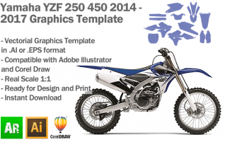 Yamaha YZF 250 450 MX Motocross 2014 2015 2016 2017 Graphics Template
