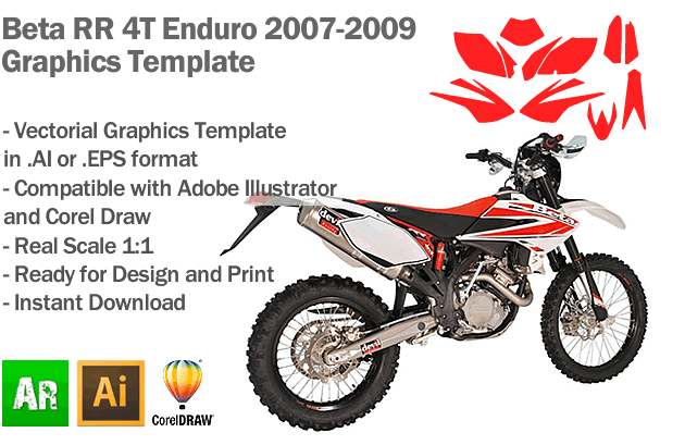 Beta RR 4T Enduro All Models 2007 2008 2009 Graphics Template
