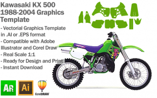 Kawasaki KX 500 1988 1989 1990 1991 1992 1993 1994 1995 1996 1997 1998 1999 2000 2001 2002 2003 2004 Graphics Template