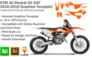 KTM SX SXF MX Motocross All Models 2016 2017 2018 Graphics Template