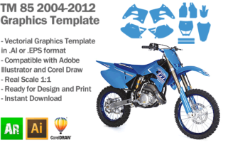 TM 85 MX Motocross 2004 2005 2006 2007 2008 2009 2010 2011 2012 Graphics Template