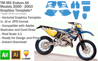 TM All Models Enduro MX Motocross 2000 2001 2002 2003 Graphics Template