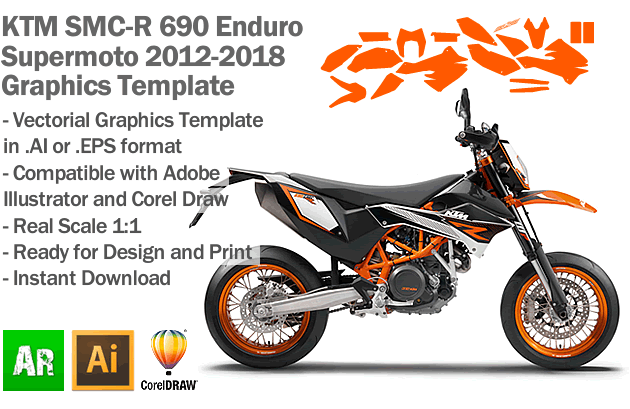 KTM SMC-R 690 Enduro Supermoto 2012 2013 2014 2015 2016 2017 2018 Graphics Template