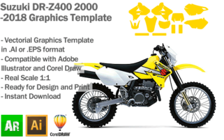 Suzuki DR-Z400 Supermoto Enduro 2000 2001 2002 2003 2004 2005 2006 2007 2008 2009 2010 2011 2012 2013 2014 2015 2016 2017 2018 Graphics Template