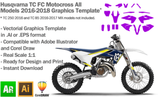 Kawasaki KXF 450 MX Motocross 2016 2017 2018 Graphics Template