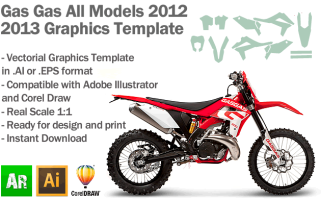 Gas Gas Enduro MX Motocross All Models 2012 2013 Graphics Template