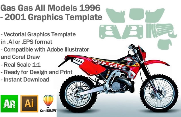 Gas Gas Enduro MX Motocross All Models 1996 1997 1998 1999 2000 2001 Graphics Template