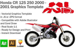 Honda CR 125 250 MX Motocross 2000 2001 Graphics Template