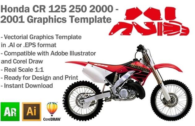 Honda CR 125 250 MX Motocross 2000 2001 Graphics Template